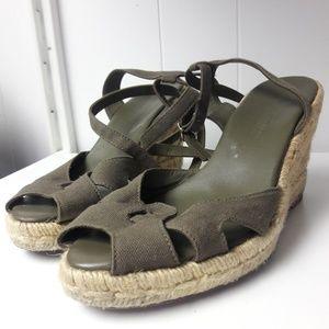 Ralph Lauren army green canvas wedge heels
